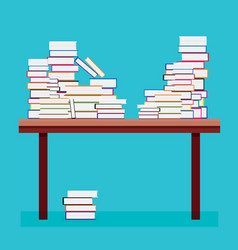 pile of books on a wooden table vector image vector image