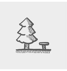 Pine tree sketch icon vector image