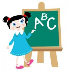 school girl with blackboard vector image
