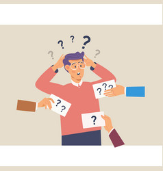 confusing cute man with question marks above his vector image