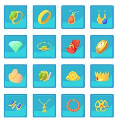 Jewelry items icon blue app vector