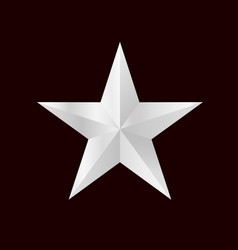 silver 3d star with bright sides vector image