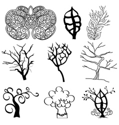 Collection of tree silhouettes vector image vector image