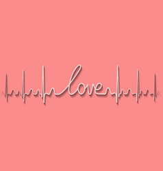 heartbeat pulse love drawing line hand calligraphy vector image vector image