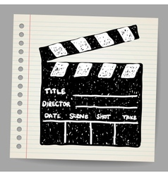 Old clapper board in doodle style vector image