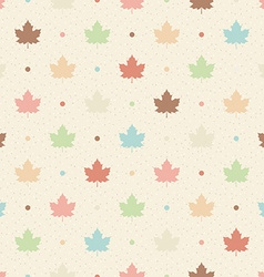 Retro seamless pattern Color maple leaves and dots vector image vector image