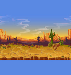 seamless desert horizontal landscape vector image
