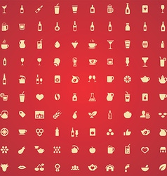 100 drinks icons vector image