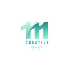 111 green pastel gradient number numeral digit vector