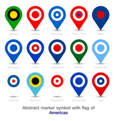 abstract marker symbol with flag of americas vector image