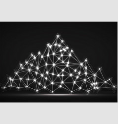 Abstract mountain of glowing lines and dots vector