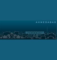 Ahmedabad multiple lines skyline and landmarks vector