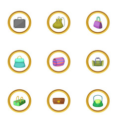 bags and suitcases icons set cartoon style vector image