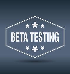 Beta testing hexagonal white vintage retro style vector