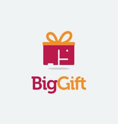 big gift logo elephant box logo icon template vector image