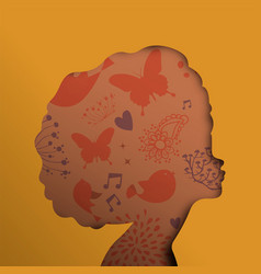 Black african woman face in paper cut cutout style vector