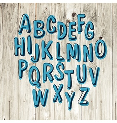 blue alphabet hand drawn vector image