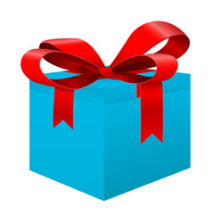Blue box with red ribbon vector