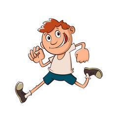 Boy run cartoon vector