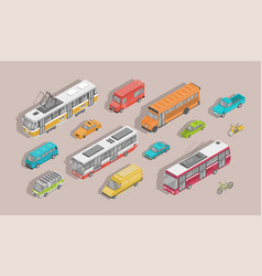 bundle isometric motor vehicles isolated on vector image