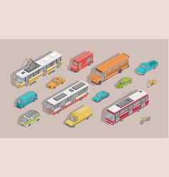 bundle of isometric motor vehicles isolated vector image