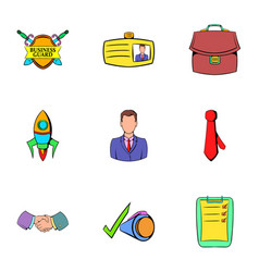 business center icons set cartoon style vector image