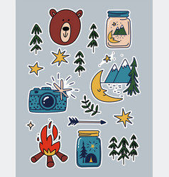 Camping stickers set cartoon patches mountains vector