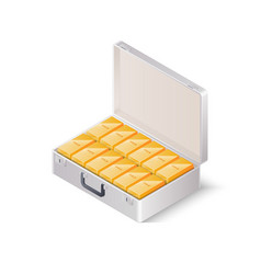 Case full of gold bars isometric vector