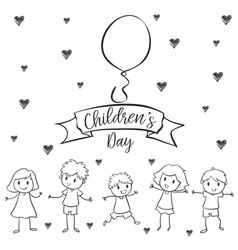 Children day with kid design hand draw vector