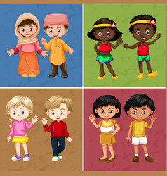 Children from different countries on four vector