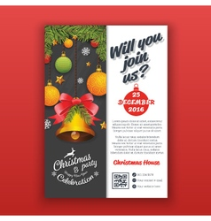 Christmas party invitation template for print vector image