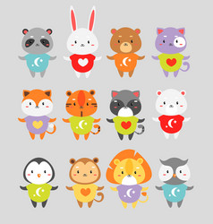 cute animals flat set little vector image