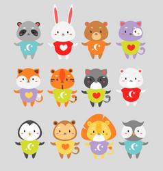 Cute animals flat set little vector