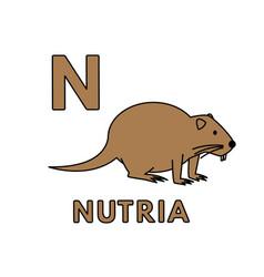 Cute cartoon animals alphabet nutria vector