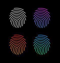 different modern gradient fingerprint icons set vector image