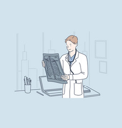 doctor holding x-ray image concept vector image