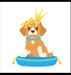 Dog character in golden crown vector