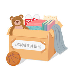Donation box charity for poor kids and homeless vector