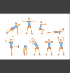 elderly man character exercising set healthy vector image