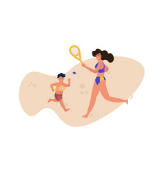 family beach activity people in swimsuits playing vector image