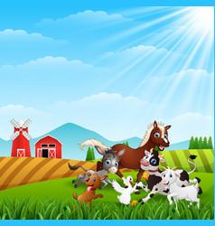 Farm animals playing at hills vector