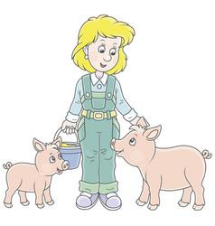 Farmer feeding pigs vector