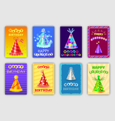 festive happy birthday postcards with holiday hats vector image