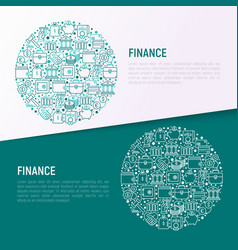 Finance concept in circle with thin line icons vector