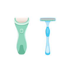 Flat icon of lady shaving razor two variants vector