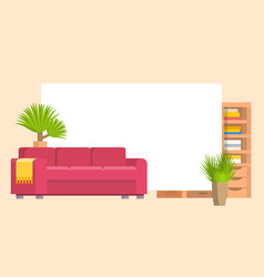 Furniture in living or bedroom objects set with vector