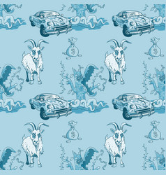 Goat rusty car money and predator tree seamless vector