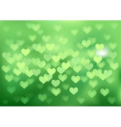 Green festive lights in heart shape background vector