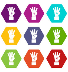 hand showing number four icon set color hexahedron vector image