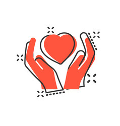 heart care icon in comic style charity cartoon on vector image